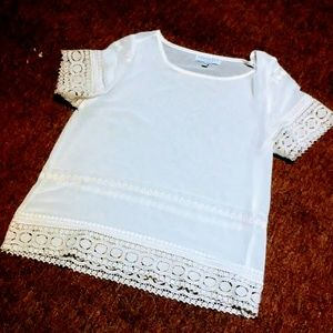 Sheer White Top size MEDIUM by AUGUST SILK